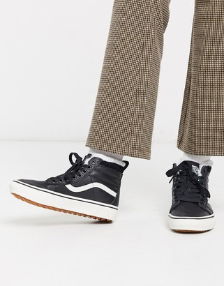 Vans SK8-Hi MTE leather trainers in black/white