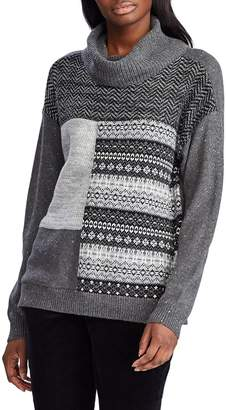 Chaps Patchwork Cowl Neck Sweater