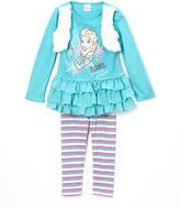 Children's Apparel Network Frozen Elsa Ruffle Top & Stripe Leggings - Toddler & Girls