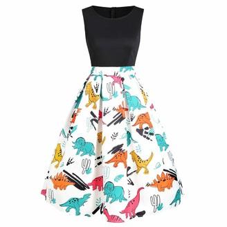 NEEDRA Dresses Women Vintage Sleeveless Ladies Dress Cute Dinosaur Tunic Tank Dress Slim Fit Petite Black
