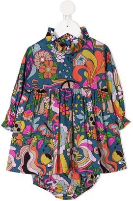 Raspberry Plum Graphic-Print Ruffle Dress
