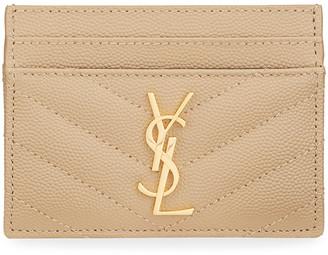 Saint Laurent Monogramme Grain de Poudre Leather Card Case, Golden Hardware