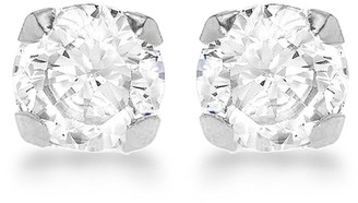 9ct White Gold 5mm Round Cubic Zirconia Stud Earrings