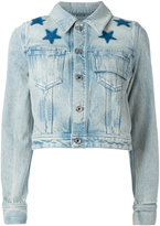 Givenchy star print bleached denim jacket