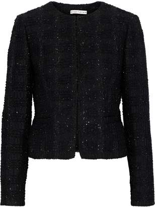 Alice + Olivia Kidman Sequin-embellished Metallic Tweed Blazer