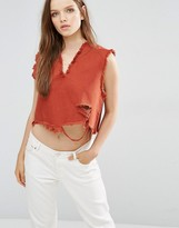 WÅVEN Nova V Neck Crop Top With Raw Hem
