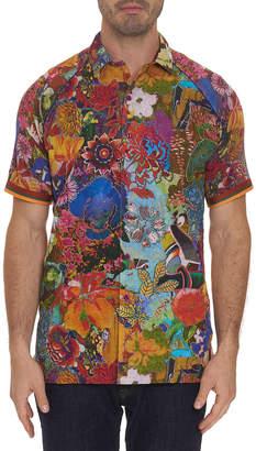 Robert Graham Men's Landscapes Floral-Print Linen Sport Shirt