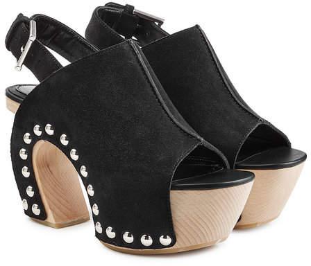 Alexander McQueen Suede Clog Sandals