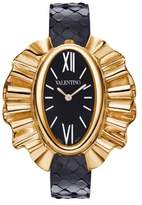 Valentino Women's Quartz Watch with Black Dial Analogue Display and Black Leather Strap V45Sbq3009S009
