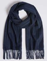 Marks and Spencer Tonal Pinstripe Wool Woven Scarf