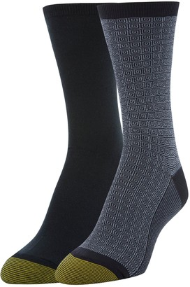 Gold Toe Women's Little Black Dimension & Flat Knit Crew Socks 2 Pairs Shoe Size: 6-9