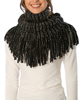 Pure Style Girlfriends Black Knit Fringe Snood