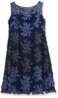 Adrianna Papell Women's Petite Embroidered Fit and Flare Dress