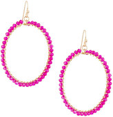 Panacea Wire-Wrapped Crystal Circle Drop Earrings, Pink