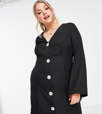 ASOS DESIGN Curve button through linen mini dress with fluted sleeve in black