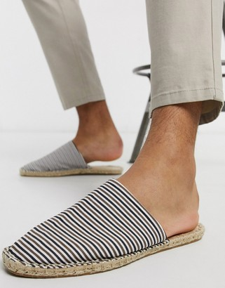 ASOS DESIGN slip on mule espadrilles in mini stripe