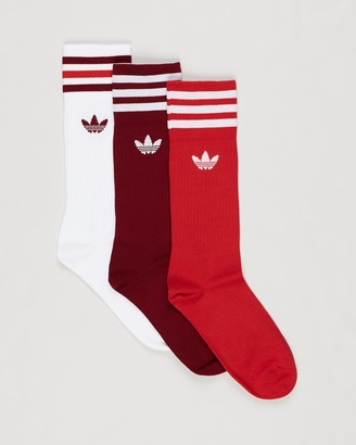 adidas Red Crew Socks - Solid Crew Socks - 3-Pack - Size 6-8.5 at The Iconic