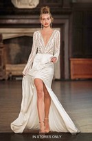 Women's Berta Beaded Long Sleeve High/low Gown