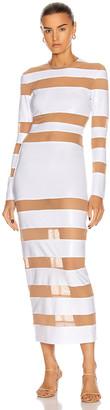 Norma Kamali Spliced Dress in White Foil & Nude Mesh | FWRD