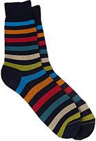 Barneys New York Men's Block-Striped Mid-Calf Socks-NAVY