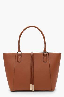 boohoo Structured Cross Hatch Tote Bag