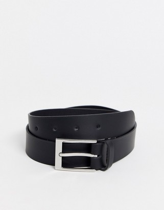 ASOS DESIGN leather silver buckle waist and hip jeans belt