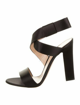 Gianvito Rossi Satin Wrap-Around Sandals Black