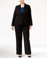 Le Suit Plus Size Three-Piece One-Button Glazed Melange Pantsuit
