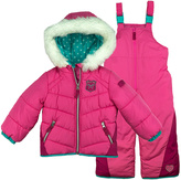 London Fog Pink & Teal Puffer Coat & Bib Pants - Infant, Toddler & Girls