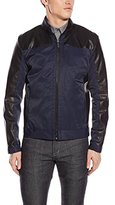 Calvin Klein Men's Faux-Leather and Cotton Jacket