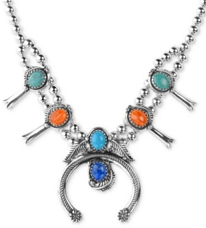 """American West Multi-Stone Squash Blossom Statement Necklace in Sterling Silver, 16"""" + 3"""" extender"""
