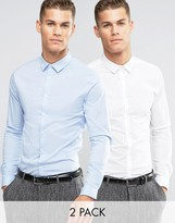 Asos Skinny Shirt 2 PACK In White And Blue
