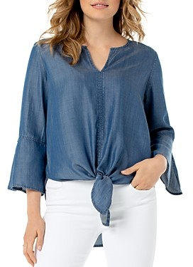 Liverpool Los Angeles Chambray Tie-Front Top
