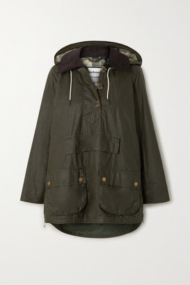 Barbour + Alexachung Coco Oversized Hooded Corduroy-trimmed Waxed-cotton Poncho - Dark green