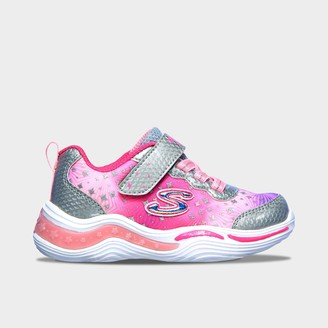 Skechers Girls' Toddler S Lights: Power Petals - Painted Daisy Hook-and-Loop Light-Up Athletic Casual Shoes