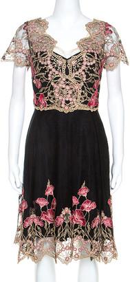 Marchesa Black and Gold Floral Lace Applique Dress M
