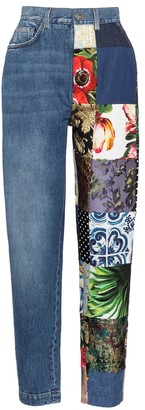 Dolce & Gabbana High-rise patchwork tapered jeans