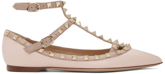 Valentino Pink Garavani Rockstud Caged Ballerina Flats