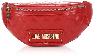 Love Moschino Red Quilted Eco-leather Belt Bag
