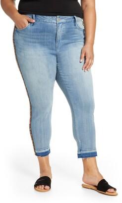 Seven7 Embroidered Side Stripe Release Hem Crop Skinny Jeans