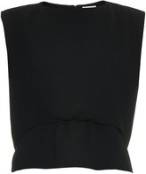 Balenciaga Double-layer hem sleeveless crepe top