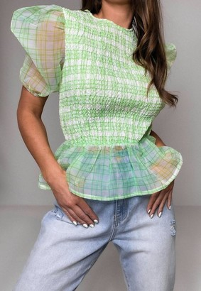 Missguided Green Check Organza Puff Sleeve Shirred Top