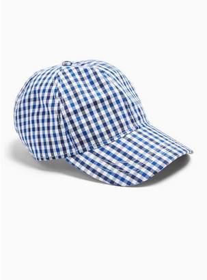 Topman Mens Blue Check Curve Peak Cap