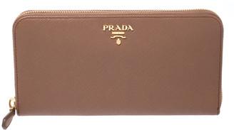 Prada Dark Brown Saffiano Metal Leather Zip Around Wallet