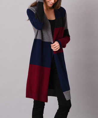 Colour Works by In Cashmere Women's Cardigans Curruant - Currant & Navy Color Block Cashmere Open Cardigan - Women