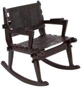 Tornillo wood and leather rocking chair, 'Chavin Deities'