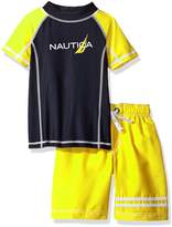 Nautica Little Boys' Two Piece Raglan Sleeve Rashguard Set