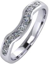 Moissanite Platinum 33pt Channel Set Shaped Wedding Ring