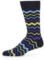 Saks Fifth Avenue Chevron Striped Cotton Socks