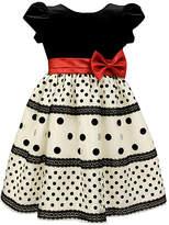 Jayne Copeland Black & White Dot Velvet Dress - Infant, Toddler & Girls
